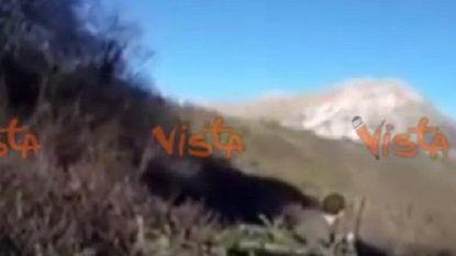 Italiaanse jagers schrikken zich een hoedje als de aarde plots begint te beven