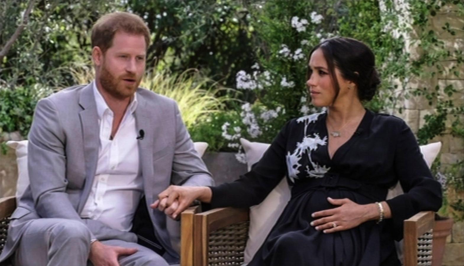 Harry en Meghan tijdens hun interview met Oprah Winfrey.