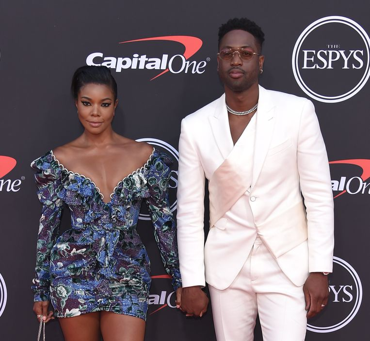 Model en actrice Gabrielle Union en Dwayne Wade, die na zestien seizoenen een punt achter zijn NBA-loopbaan zet.