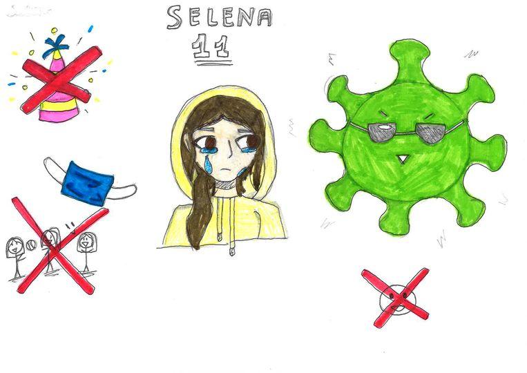 Kindertekeningen over corona Selena, 11 jaar. Beeld Humo
