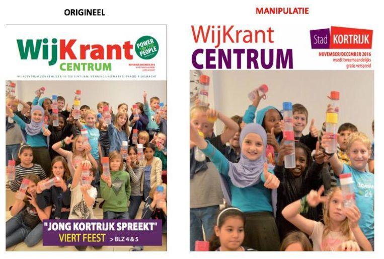 Links de originele foto (van eind 2016 trouwens). Rechts de bewerkte foto van Vlaams Belang
