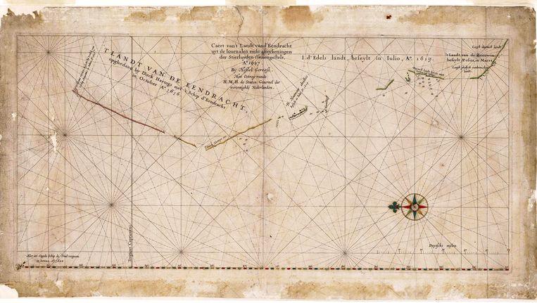 Een van de oudste kaarten van Australië, de Caert van 't Landt van d'Eendracht uit 1627, laat goed zien hoe weinig toen nog bekend was van de westkust. Beeld -