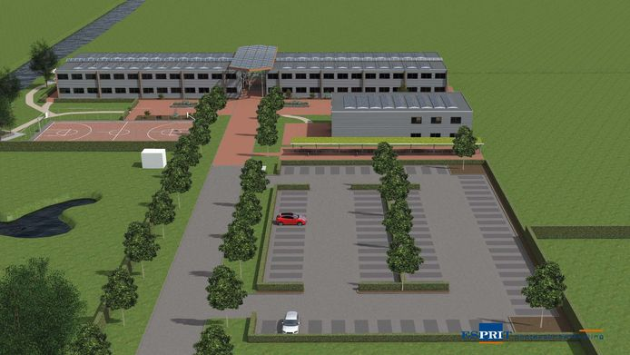 Schets van het nieuwe 'migrantenhotel' inclusief sportaccommodatie en parkeerterrein..