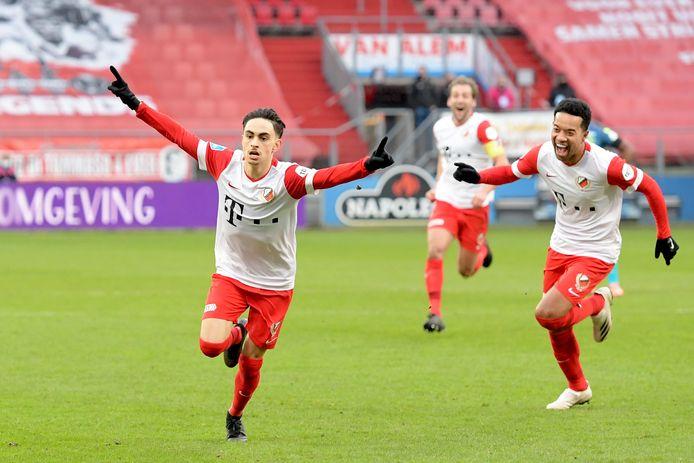 Othmane Boussaid viert zijn treffer namens FC Utrecht tegen Sparta.
