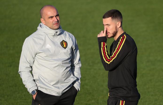 Bondscoach Roberto Martinez en aanvoerder Eden Hazard.