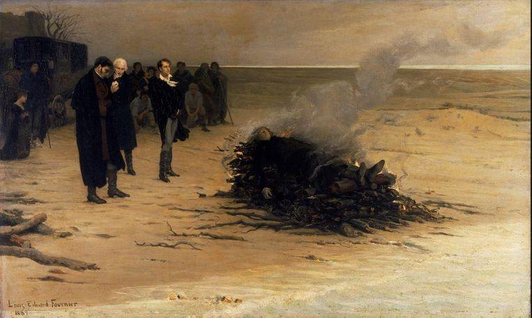 Louis Edouard Fournier, L'Enterrement de Shelley. Beeld .