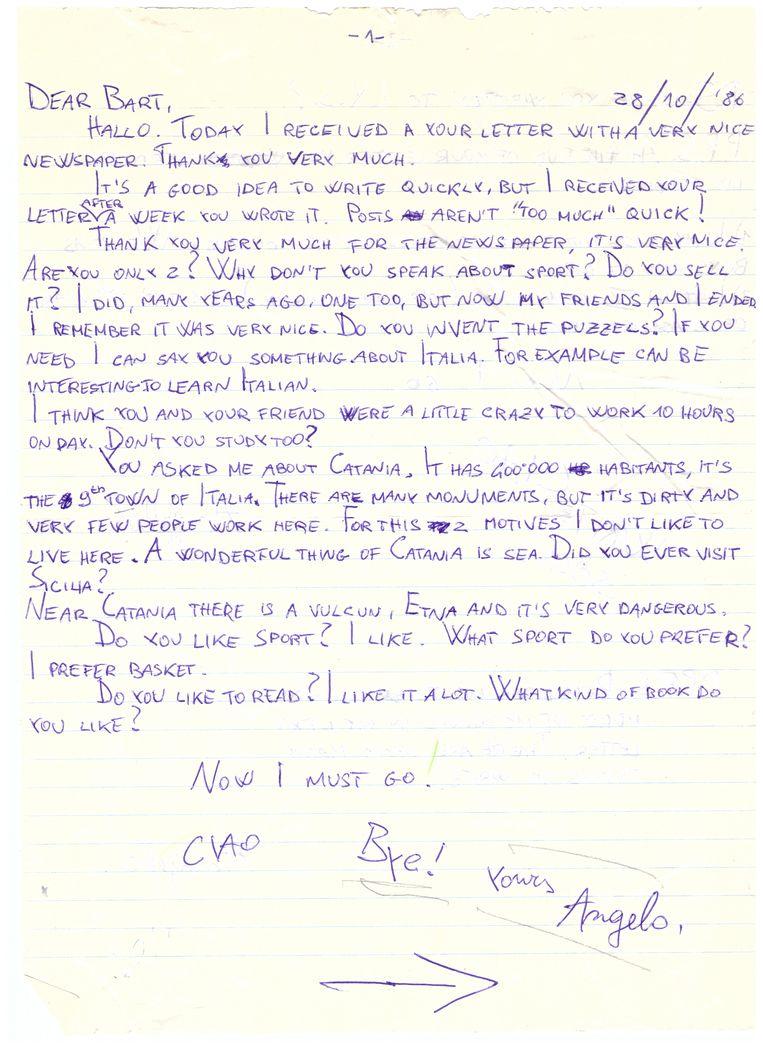 Een van de brieven van Angelo, oktober 1986. Beeld null