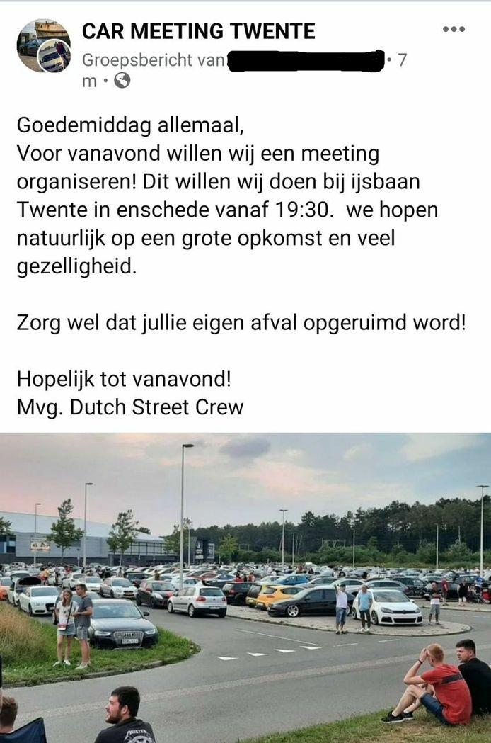 De Facebookoproep van de groep Dutch Street Crew.