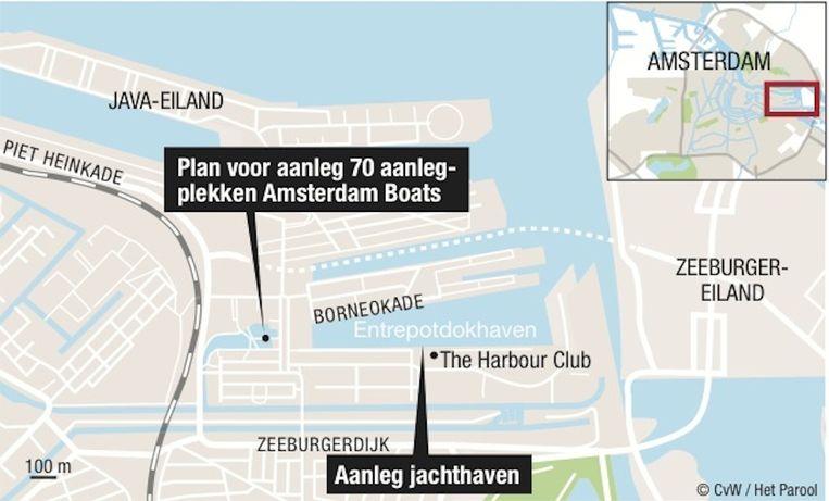 De locaties van de aanlegplekken en de jachthaven in het Oostelijk Havengebied. Beeld Het Parool/CvW
