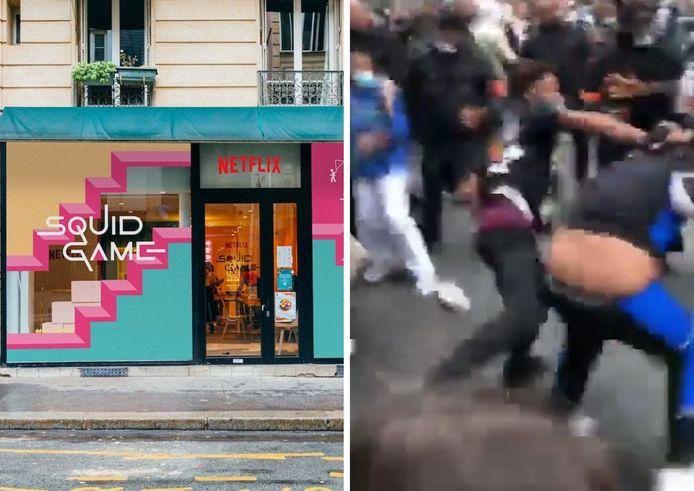 """Des fans se battent à l'ouverture d'une """"salle de jeux"""" Squid Game à Paris."""