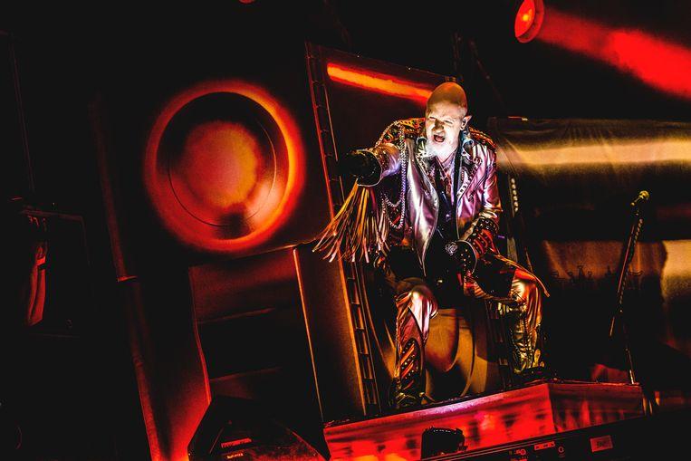 Zanger Rob Halford van Judas Priest Beeld Stefaan Temmerman