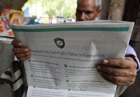 In India trachtte WhatsApp de inwoners te informeren over valse informatie die de ronde kan doen.