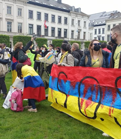Des centaines de manifestants au parlement européen à Bruxelles en soutien aux Colombiens