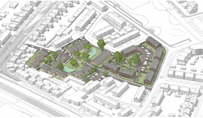 Woningcorporatie Welbions gaat 38, hoofdzakelijk eengezinswoningen, bouwen op de Ten Ankerlocatie in de Bloemenbuurt