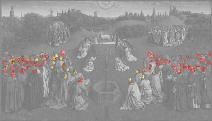 De delen onder de rode vlekjes zijn van de hand van Jan Van Eyck, die onder de gele gele van zijn broer Hubert