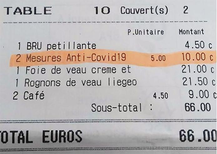 Het Brussels restaurant VIVA M'Boma rekent  vijf euro 'coronatoeslag' per persoon.
