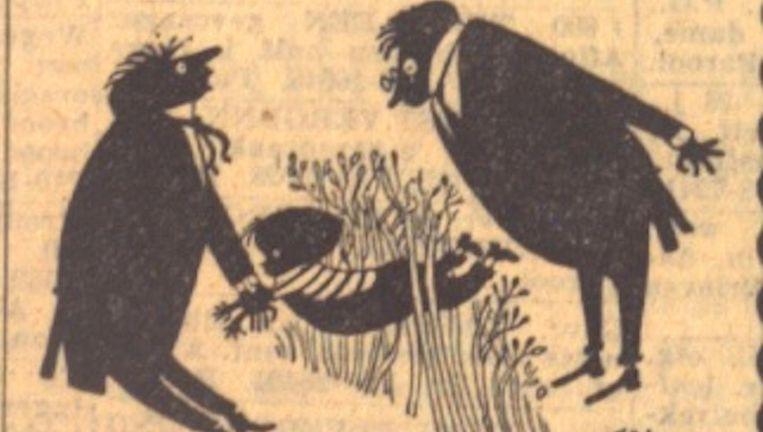 Illustratie van Fiep Westendorp bij de eerste Jip en Janneke in Het Parool Beeld -