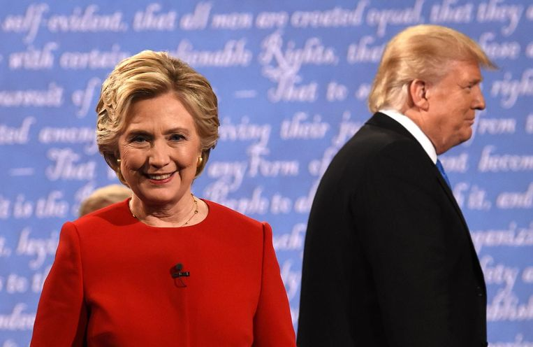 Clinton en Trump na het eerste verkiezingsdebat. Beeld anp