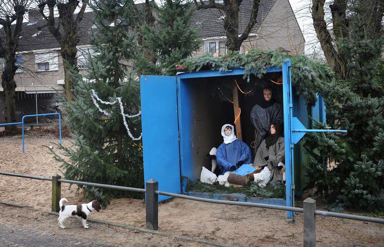 Kerststal aan de Lievensweg in Groesbeek.  Beeld Marcel van den Bergh