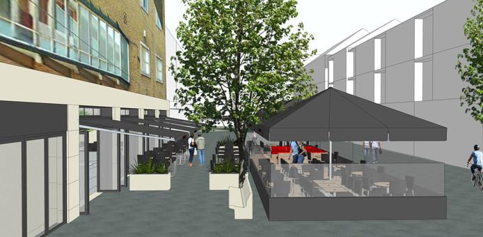 Zo zag het ontwerp voor het nieuwe terras van Triple B er uit.
