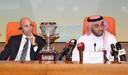 Luis Rubiales van de Spaanse voetbalbond met met prins Abdulaziz bin Turki Al-Faisal.