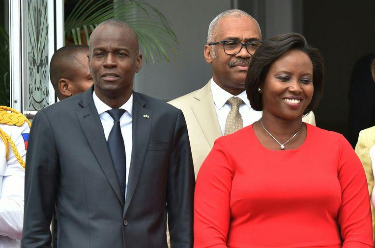 Jovenel Moïse (links) en zijn vrouw Martine in 2018. Beeld AFP