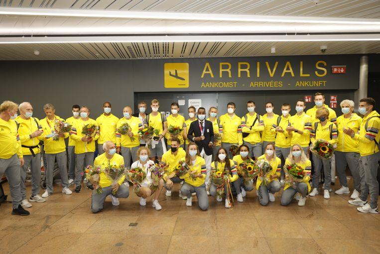 De Belgische olympiërs behoorden tot het toenemende aantal passagiers op Brussels Airport. Beeld BELGA