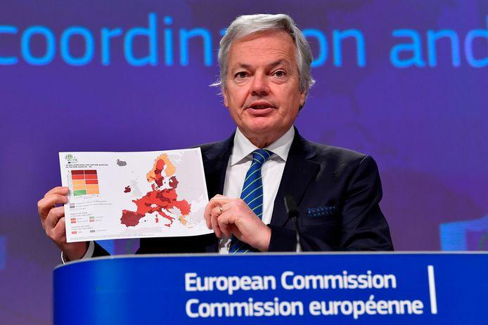 Didier Reynders, le commissaire européen à la Justice, lors d'une conférence de presse à Bruxelles, le 25 janvier 2021.