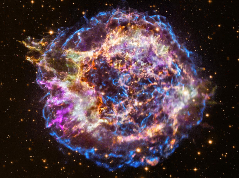 De overblijfselen van een supernova-explosie op zo'n 11.000 lichtjaar afstand van de aarde. Als dergelijke ontploffingen dichterbij plaatsvinden, vormen ze een groot risico voor het aardse leven.
