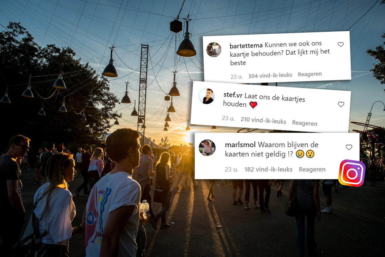 Veel teleurgestelde reacties dinsdag onder het bericht van Lowlands dat alle kaarten voor het festival automatisch vervallen.