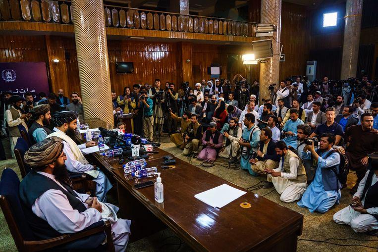 De eerste persconferentie van de Taliban afgelopen dinsdag in Kabul. Beeld Marcus Yam / Los Angeles Times via Getty Images