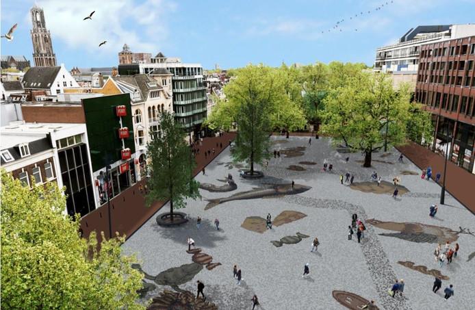 Een artist's impression van het toekomstige Vredenburgplein.