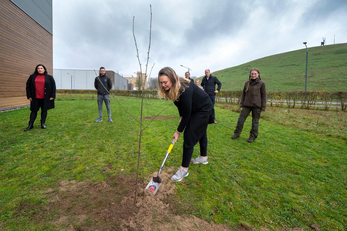 Wethouder Cathelijne Bouwkamp plant een van de boompjes op bedrijventerrein IJsseloord II.