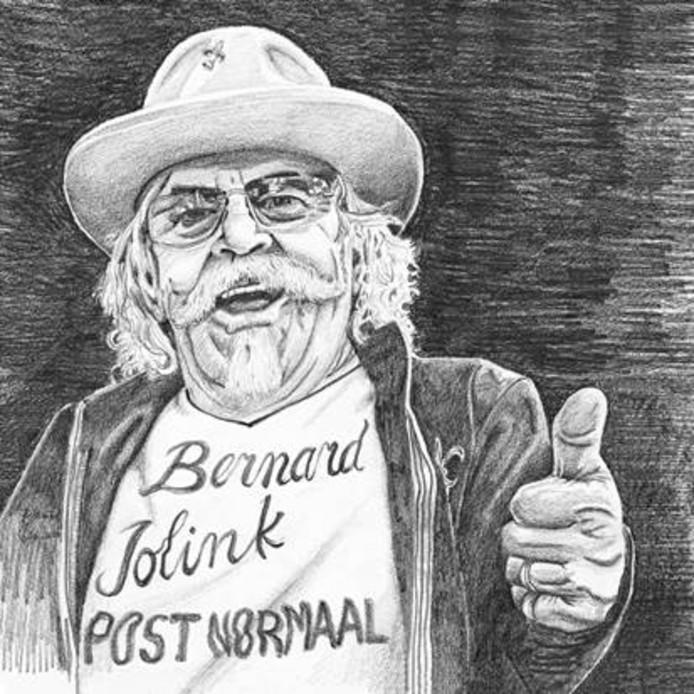 Een getekend zelfportret van Bennie Jolink.