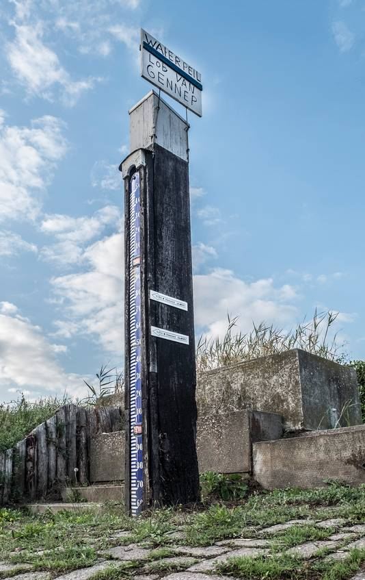 Zo hoog komt het water, wilden critici van de Lob van Gennep zeggen met dit bord aan de Elzenstraat in Middelaar.