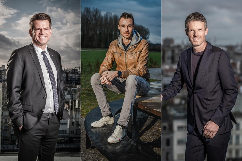 Meteorologen David Dehenauw, Bram Verbruggen en Frank Duboccage leggen uit welke weerapps zij verkiezen. Beeld Joel Hoylaerts - Photonews/ Bart Leye/