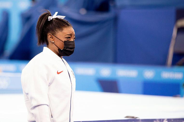 De Amerikaanse Simone Biles, tijdens de teamfinale van het vrouwengymnastiek in Tokio.  Beeld Photo News