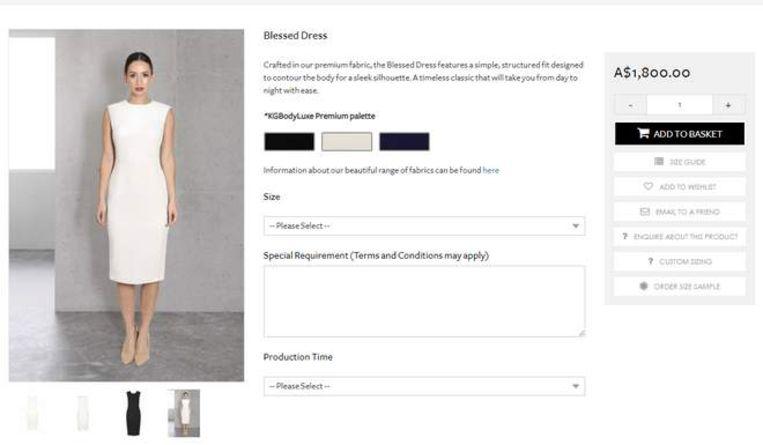 De jurk in kwestie op de website van Karen Gee