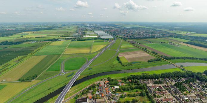 De Baardwijkse Overlaat, tussen Waalwijk (onder) en Drunen (boven), met de nieuwe wegenstructuur als de GOL-plannen doorgaan. Zo'n beetje dwars door het midden de A59.