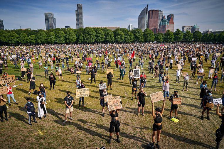Demonstranten op het Malieveld in Den Haag. Beeld EPA