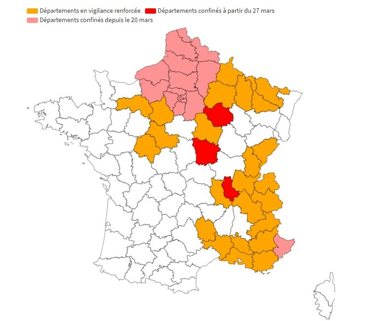 Kaart met departementen in lockdown (rood = van kracht sinds 27 maart, roze = van kracht sinds 20 maart) en onder verscherpt toezicht (oranje). Beeld BFM-TV