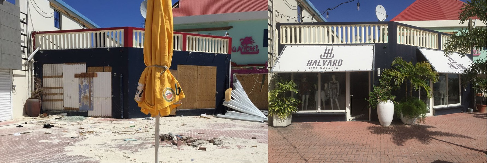 Winkel Halyard vlak na Irma en na de wederopbouw.