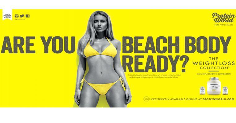 Over deze reclame van afslankmiddelenbedrijf Protein World ontstond commotie in het Verenigd Koninkrijk.   Beeld rv