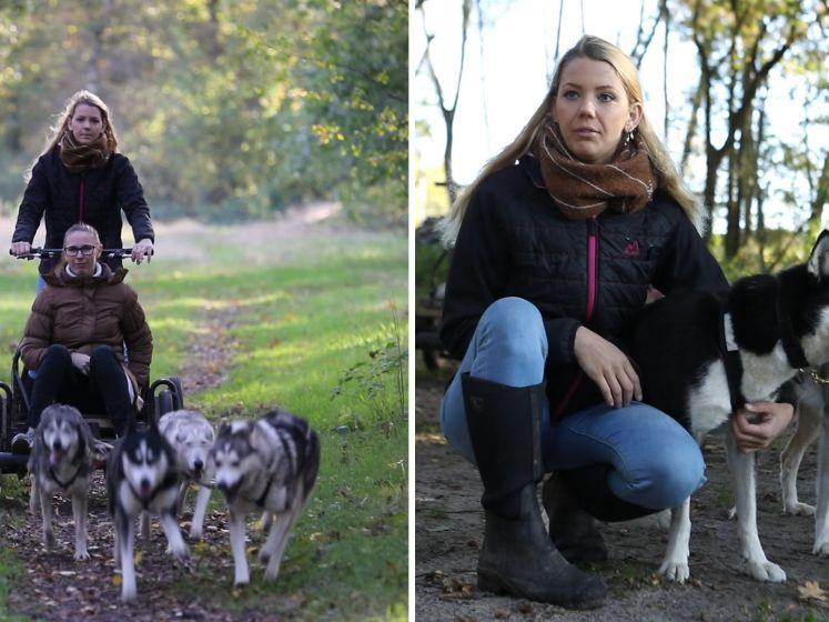 Sledesporter Nanoek crosst met haar husky's door het bos