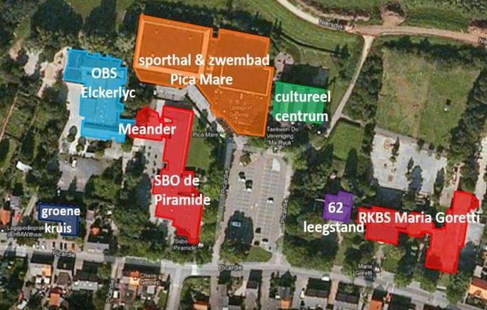 Plattegrond van de omgeving van de Picarcie waar het nieuwe Kind Expertise Centrum Gennep moet komen.