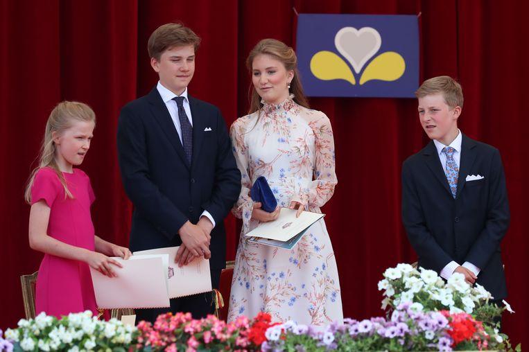 Prinses Eleonore, prins Gabriel, prinses Elisabeth en prins Emmanuel.