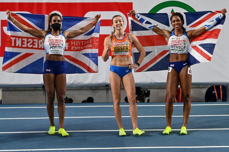 Nadine Visser pakte de Europese titel en verbeterde haar Nederlands record. Beeld AFP