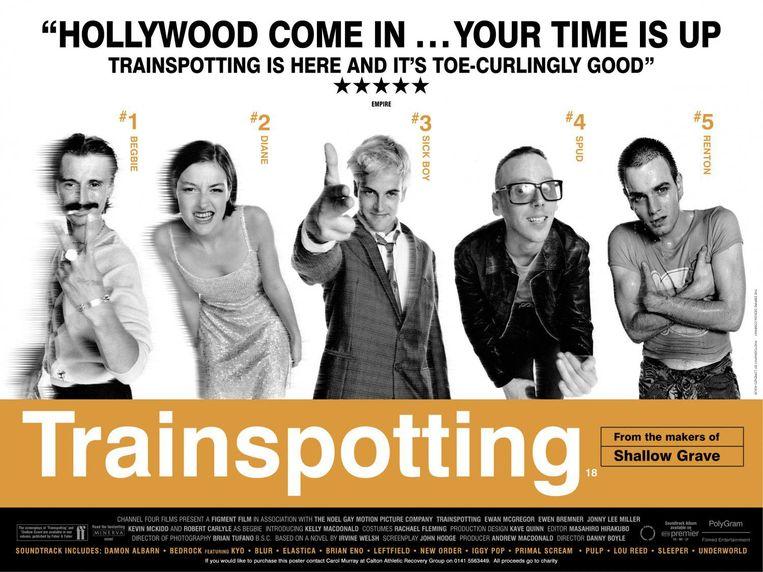 Affiche voor Trainspotting uit 1996 Beeld