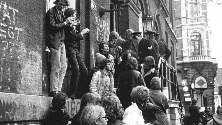 De Maagdenhuisbezetting van 1968. Beeld null