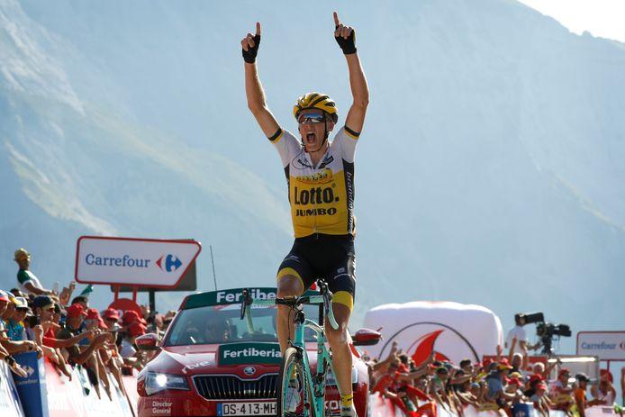 Gesink won in 2016 in de Vuelta op de Col d'Aubisque.